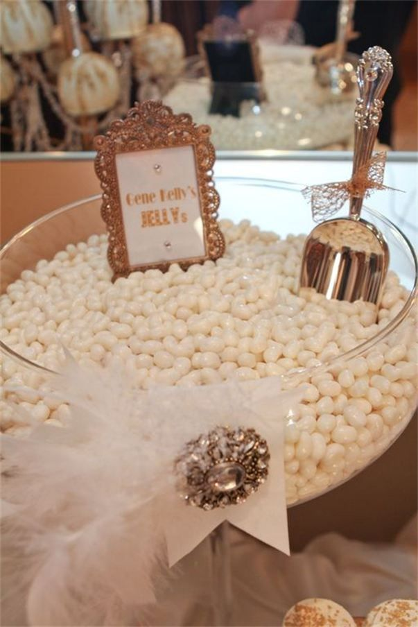 Cute and sanitary way to serve small, unwrapped candies like jelly beans or chocolate covered almonds. This page includes other cute ideas for gold-themed candy buffet.