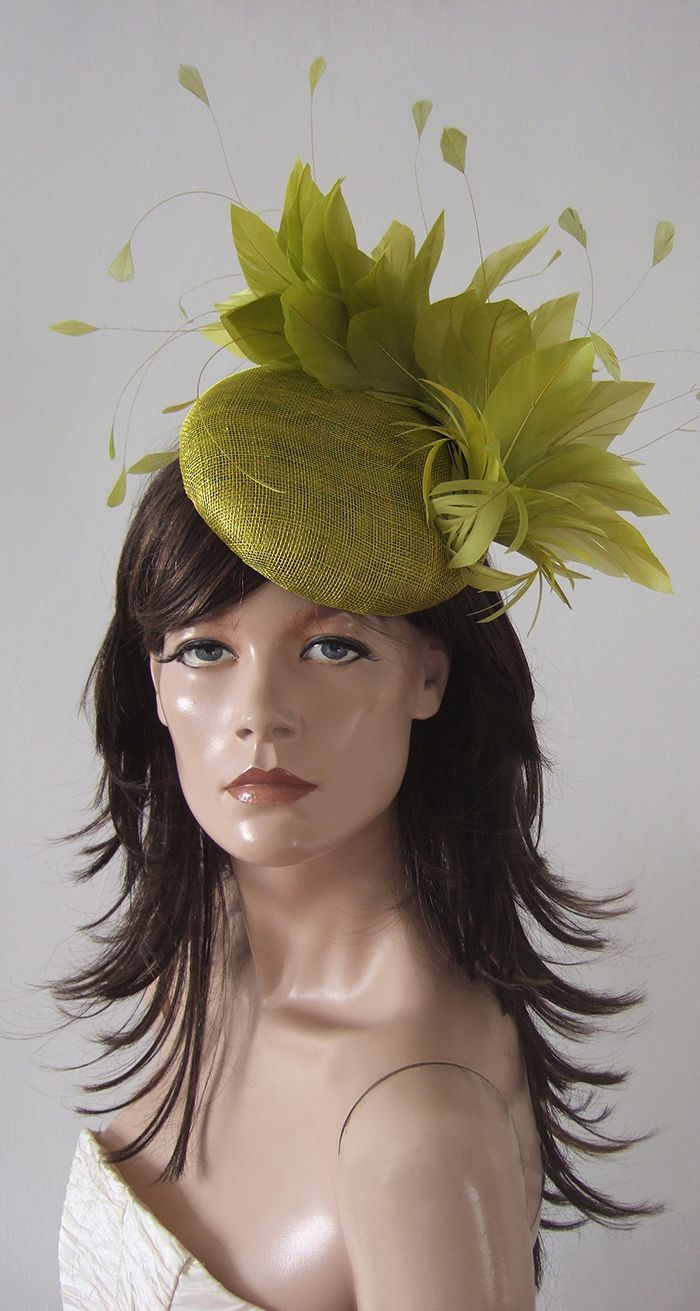b47f70902136e Olive Green Kentucky Derby Fascinator. Olive Green Kentuckty Derby Hat.  What to wear to the Kentucky Derby. Olive green outfit ideas. Handmade  feather ...