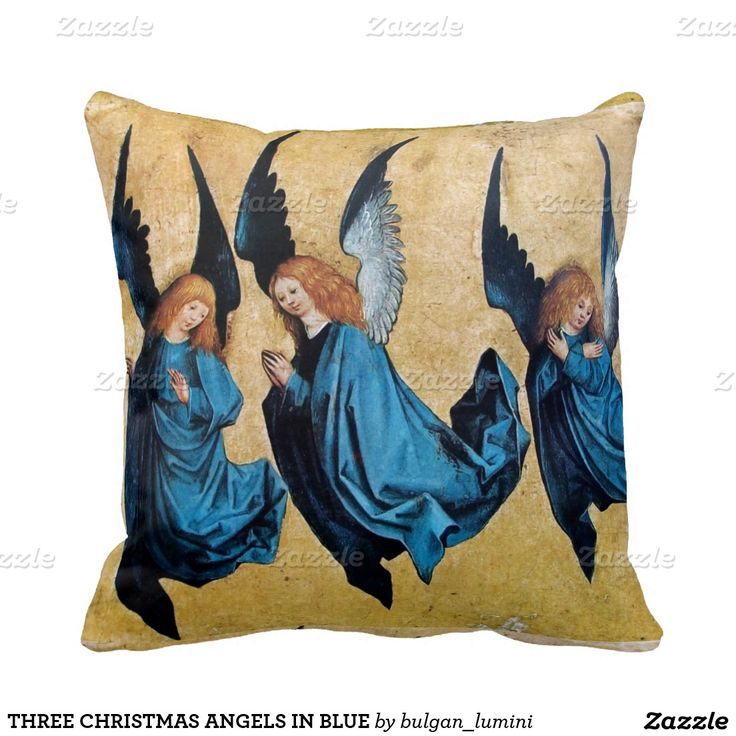 THREE CHRISTMAS ANGELS IN BLUE THROW PILLOW