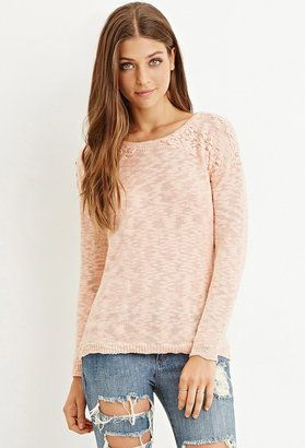 FOREVER 21 crochet-panel textured sweater - Shop for women's Sweater - Mint Sweater