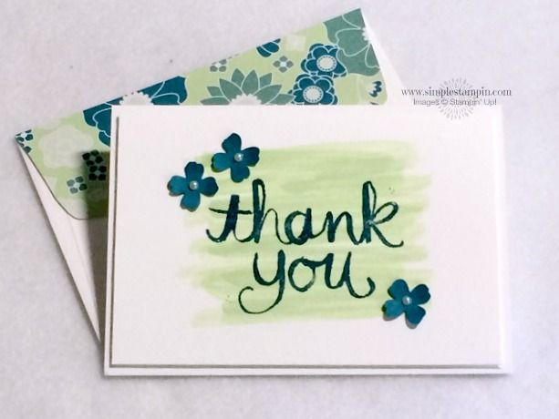 Watercolor Thank You - single stamp from the Stampin' Up 2014-2015 Annual Catalog.  Uses the watercolor technique shown in the catalog p. 144-145