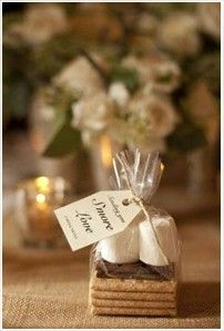 Such a great idea for a Fall or Winter wedding reception with s'more favors!