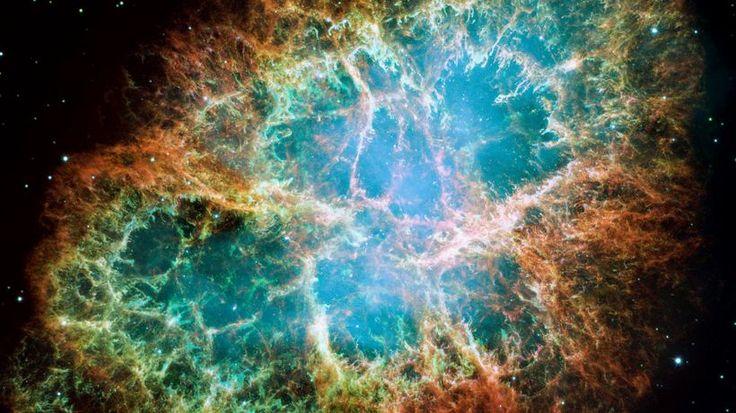 Das Weltraumteleskop Hubble fotografierte vor 16 Jahren den Krebsnebel. Er ist der Überrest einer Supernova, die im Jahr 1054 von der Erde aus zu beobachten war.