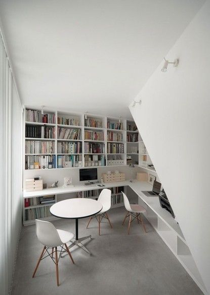Turn small spaces into office/workspace. With lots of bookshelves!