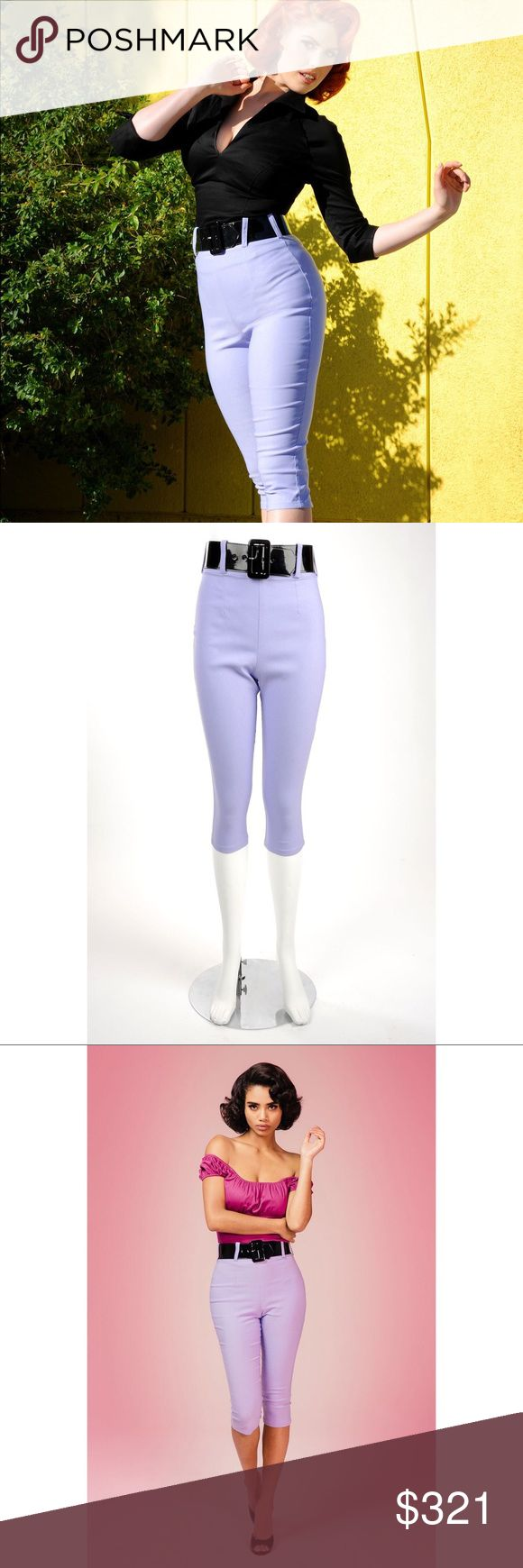 Coming Soon❗️PUG Deadly Dames Lavender Capri Pants NWOT. Comes with black belt. No trades. Price is firm. Sold out everywhere. Pinup Girl Clothing Pants Capris