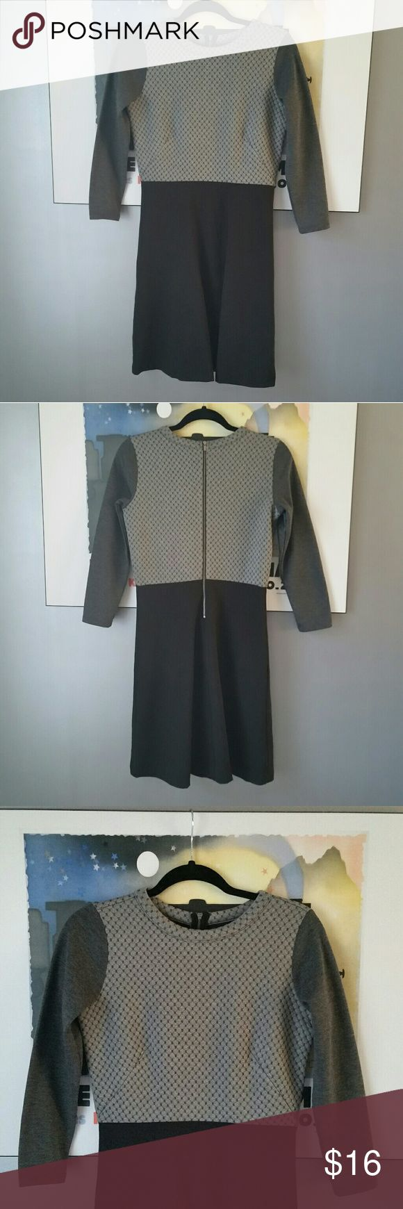 🐺Loft Colorblock Dress🐺 Grey and black 3/4 sleeve dress, excellent condition. The bodice part has a quilted texture to it. LOFT Dresses