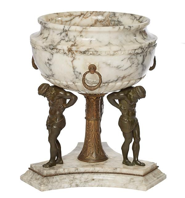 AN IMPRESSIVE ITALIAN CARRARA MARBLE AND GILT BRON…