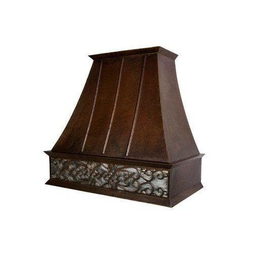 Premier Copper Products 38 Copper Euro Range Hood With Scroll Design 735 Cfm With Screen Filters Hv Euro38s Nb C2036bp Wall Mount Range Hood Premier Copper Products Range Hood