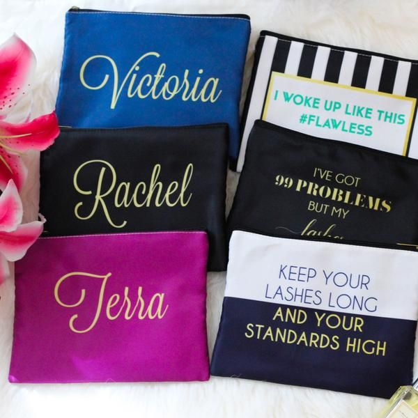 Personalized Bridesmaid Makeup Bags