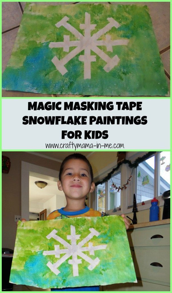 Magic Masking Tape Snowflake Paintings for Kids - Crafty Mama in ME!