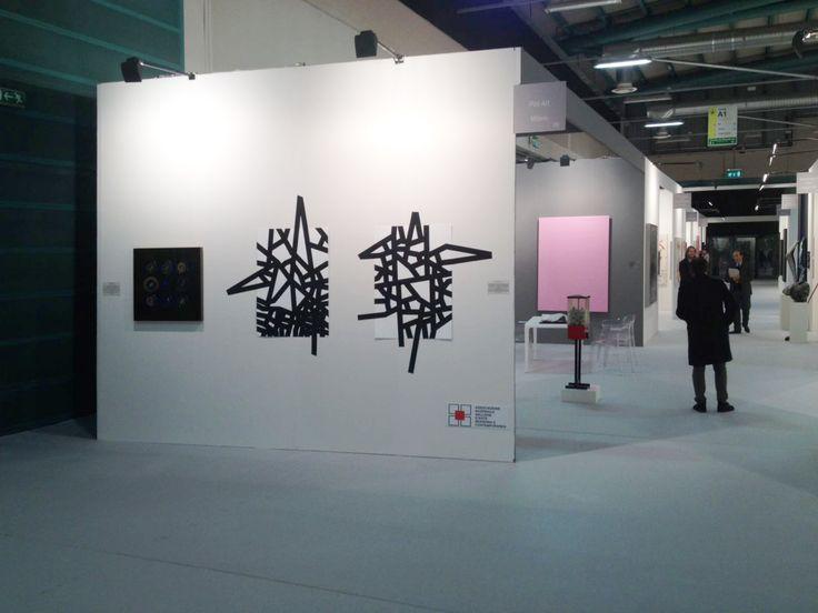 Carlo Colli - Recompose White 1H16M + 1H14M, 2016, pittura bianca strappata su carta e nastro americano nero, 100x70cm. ciascuno, (installazione dimensioni variabili) galleria PoliArt Contemporary - BAF Bergamo Arte Fiera 2016