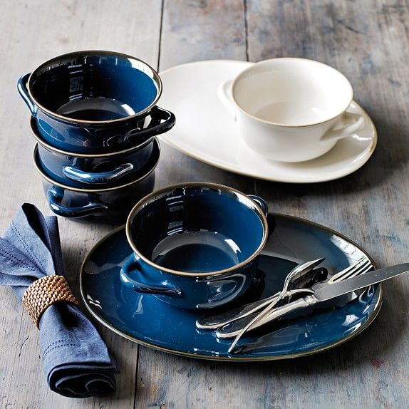 Farmhouse Double Handle Bowls, Set of 4 | Williams-Sonoma.  White with matching plates.