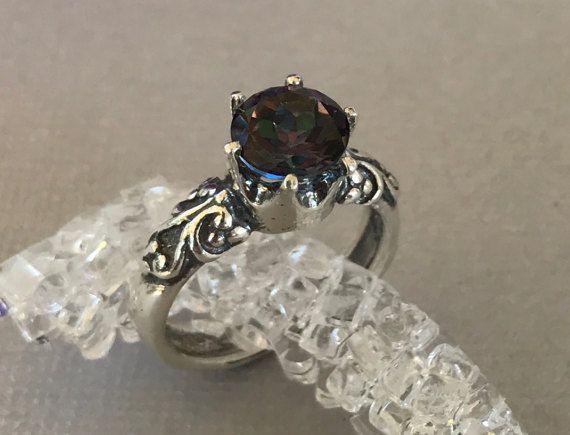Mystic Topaz Engagement Ring Natural Round Mystic Topaz