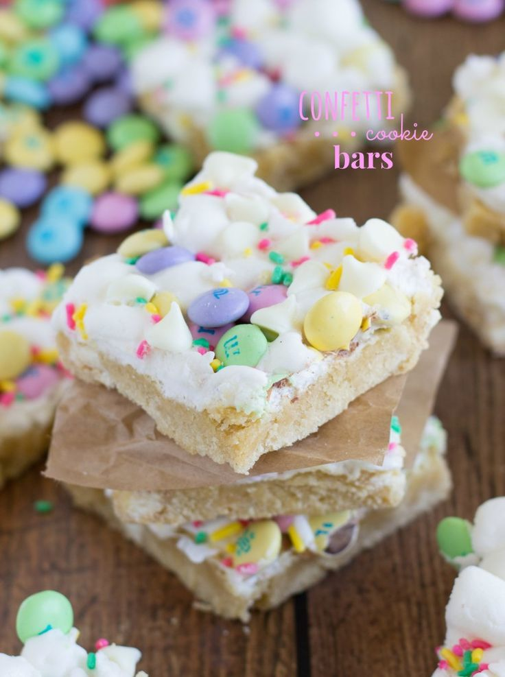 Spring Confetti Bars. I have to admit that these were a little too much sugar even for ME (*gasp*)... maybe need to ditch the M&Ms and sprinkles next time?!