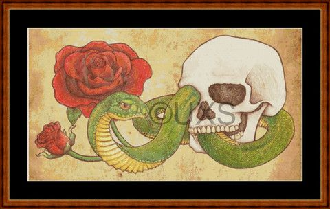 Modern counted cross stitch kit Snake Skull and Roses tattoo – Unconventional X Stitch