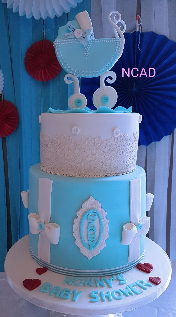 Sky blue cream white and red  cakes