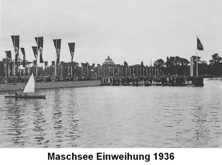 HANNOVER MASCHSEE EINWEIHUNG 1936 MIT NAZI FÄHNCHEN