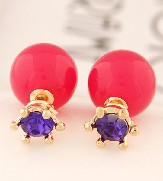 Diamond Ball Earring Red