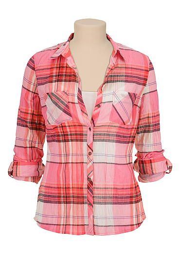 lightweight pink plaid button down shirt (original price, $29) available at #Maurices