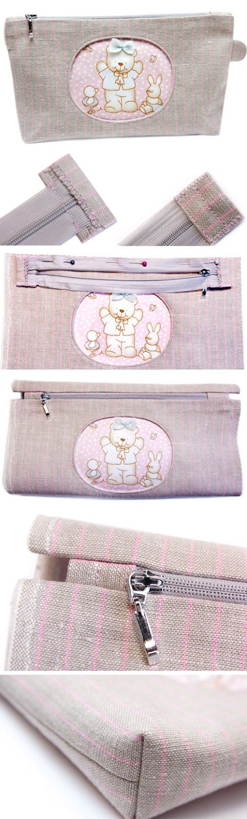 Necessaire - Zippered Cosmetic Bag Appliqué Teddy Bear. Tutorial DIY in Pictures. http://www.handmadiya.com/2015/11/cosmetic-bag-with-applique-bear.html