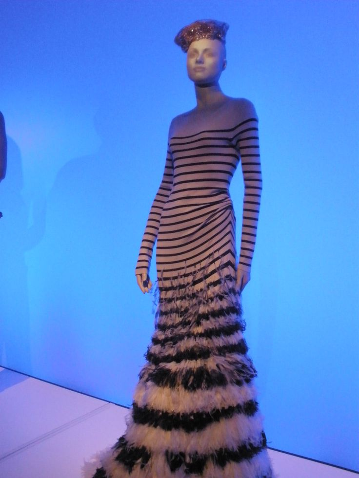 Jean-Paul Gaultier, Barbican, fashion, feathers, Breton, stripes