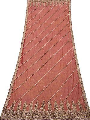 VINTAGE WEDDING DUPATTA LONG INDIAN SCARF NET BEADED FABRIC VEIL STOLE MAROON