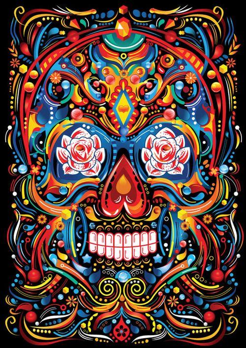 Amazing sugar skull design. Vibrant