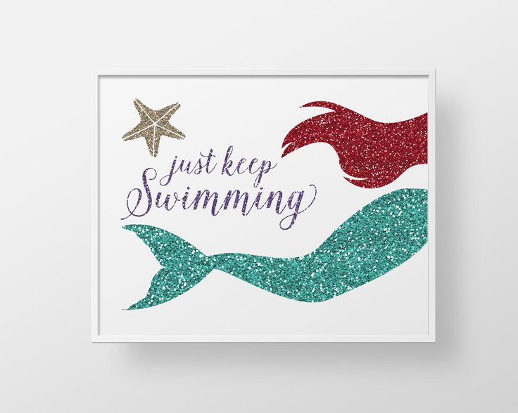 Little Mermaid Print Teal Aqua Red Ocean Sea Nautical Swim Childs Girls Teen Bathroom Decor Wall Art Just Keep Swimming