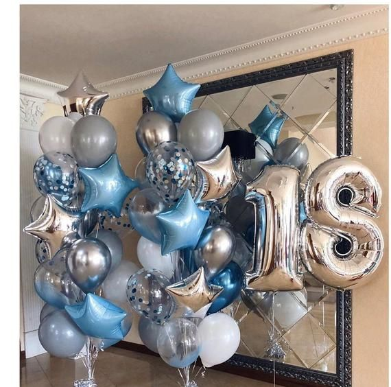 Blue Silver Balloon Bouquet Party Balloons Happy 18th Etsy In 2020 18th Birthday Decorations Birthday Balloon Decorations Birthday Decorations