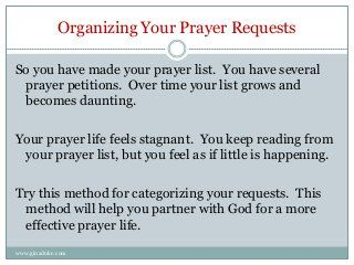 Gina Duke shares a simple and effective method for organizing your prayer petitions with 3 designations for a more effective prayer life. For more tips, blog p…