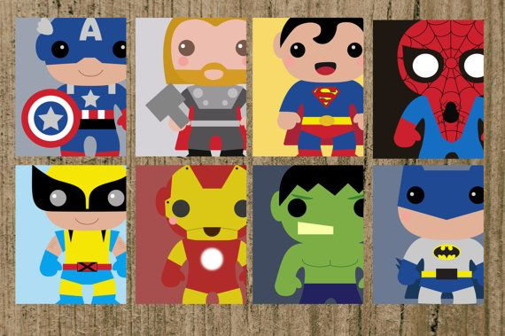 INSTANT DOWNLOAD  Decorate your childs bedroom with this printable, set of 8, comic book inspired art prints.    This set contains 8 Files to