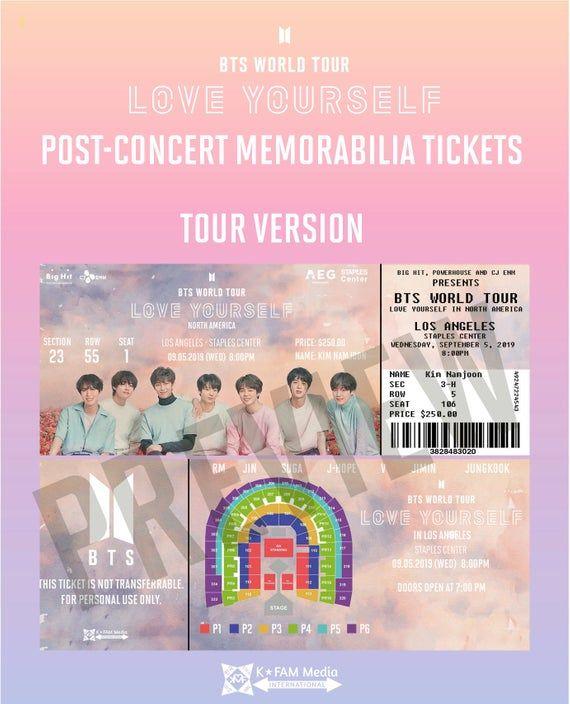 Bts World Tour Quot Love Yourself Quot Post Concert Memorabilia Tickets By Kfammarket Manualidades Kpop Pegatinas Imprimibles Kpop