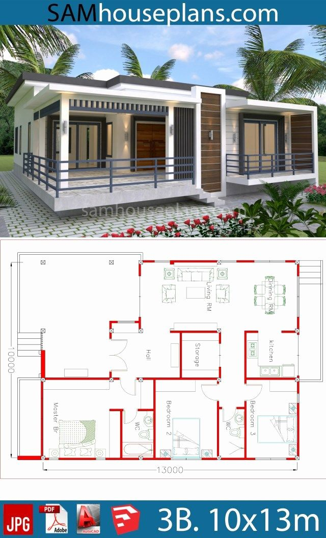 Small Unique House Plans Lovely House Plans 10x13m With 3 Bedrooms In 2020 Modern Bungalow House Unique House Plans Beautiful House Plans