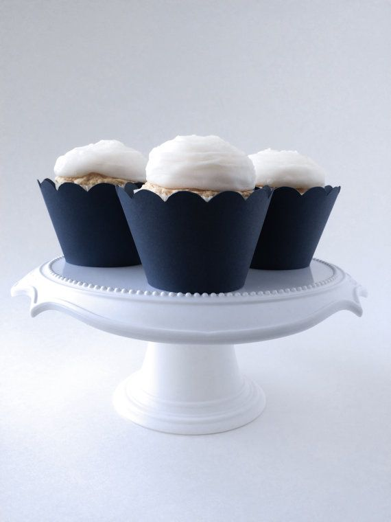 Set of 12  Navy Cupcake Wrappers  Standard Sized by TealberryShop