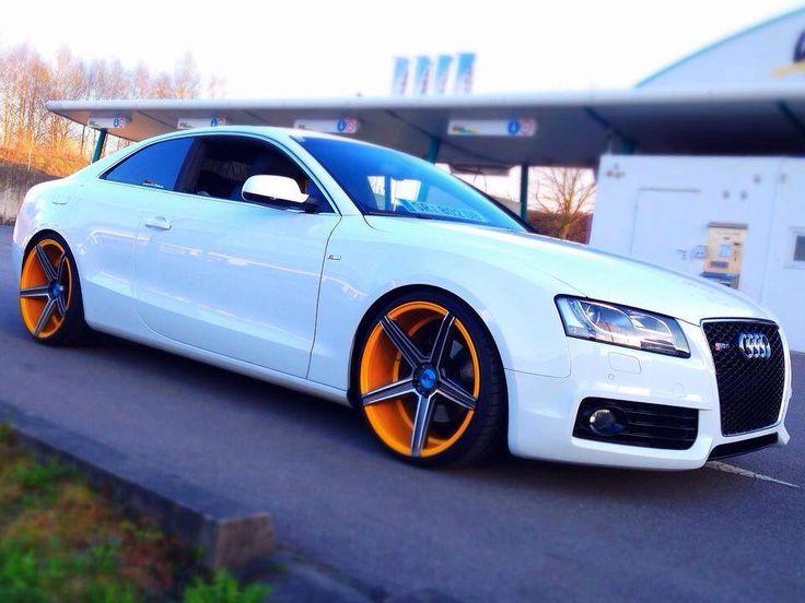 Audi S5 Stance Custom Orange Rims Tuners Pinterest