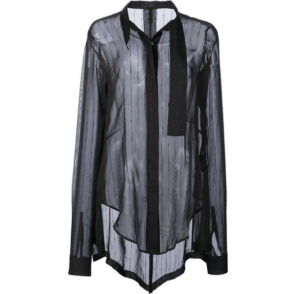 Unravel Project glitter stripe tux shirt (£1,475) ❤ liked on Polyvore featuring tops, black, tuxedo dress shirt, tux shirt, tuxedo shirt, striped top and stripe top