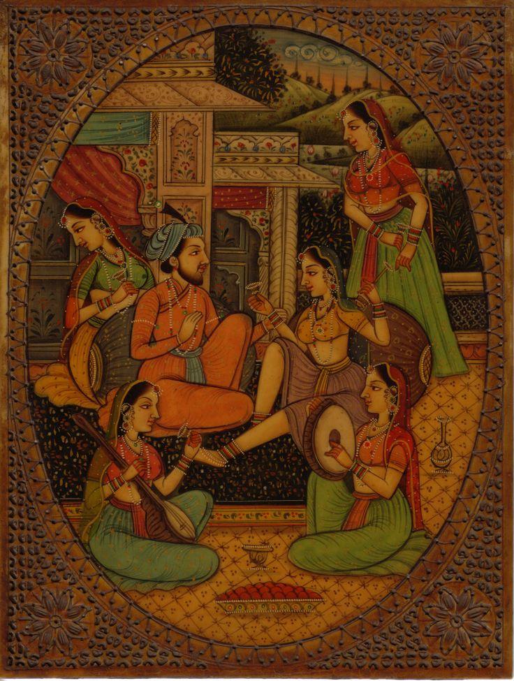 Indian Miniature Painting Handmade Antique Finish Dara Shikoh Mughal Dynasty Art
