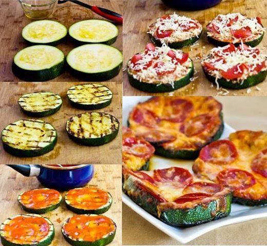 PIZZA CALABACINO:   Una idea para una cena ligera. Pasa las rodajas de calabacín con un chorrito de aceite sobre la plancha. Dóralas, y después añade tomate frito, queso rallado y chorizo o (algún opcional). 15 minutos al horno y... ¡¡Unas pizzas muy sanas!!!