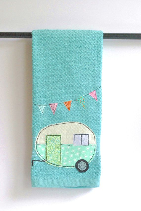 Vintage Camper Trailer Dish Towel on Etsy, $16.00