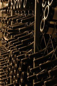 Bottles of Kingston wine in our winery cellar.