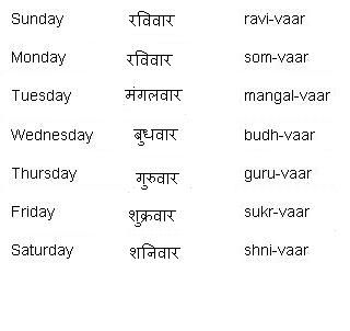Hindi Words for Days of the Week - Learn Hindi
