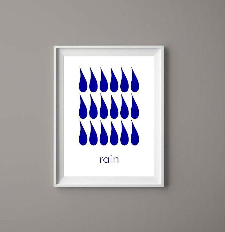 rain ''''''' .... Ink blue printable art. Download and print your own.  #prints #rain #helloprettysa #decor  #blueart #interiorart  #hotelart #artgifts  #blue