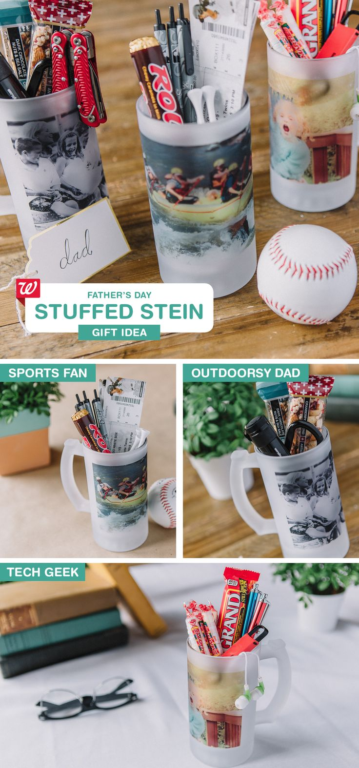 Stuff one of our Frosted Steins with products your dad loves for a personal Father's Day gift! See our Smile blog for stein-stuffer suggestions for sports-, outdoors- and tech-obsessed dads.