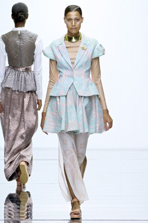 Obsessed with the layering of luxe leather with pastel voluminous coat from 2012 winner Jane Elizabeth Kotze cc @Mr Price