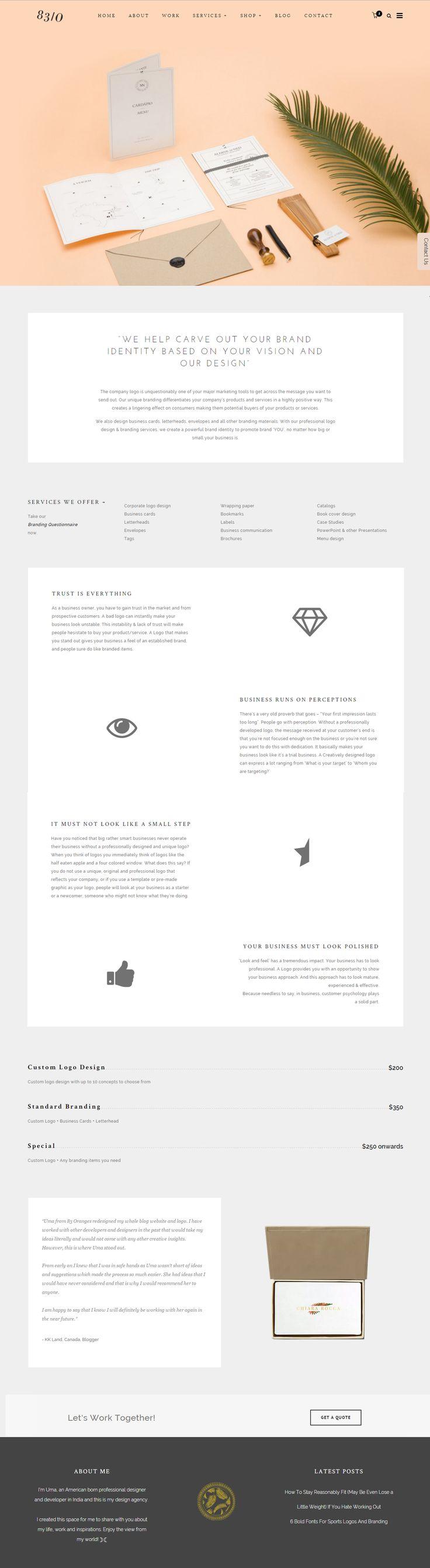 Brand Design Agency Webpage Layout #branding #logodesign #logodesigner #brandidentity #83oranges
