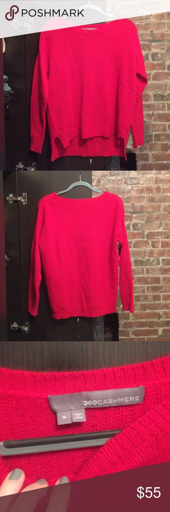 360 cashmere sweater True red sweater, like new. Subtle elbow patches. 100% cashmere 360 Cashmere Sweaters Crew & Scoop Necks