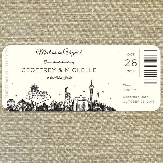 Our Las Vegas plane ticket invitation is perfect for a destination wedding! Customize it with your preferred wording and your wedding colors. Please