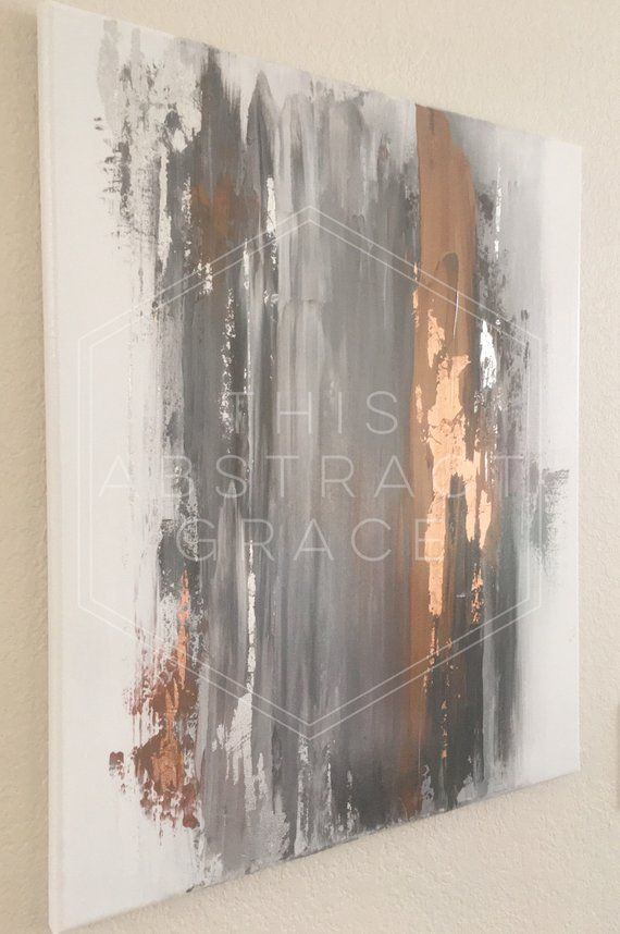 Sold Abstract Acrylic Art Rose Gold And Silver Leaf Art Etsy