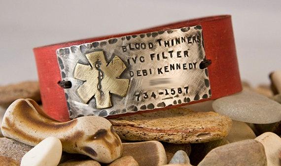 Wearable Medic Alert cuff leather bracelet