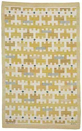 "565. CARPET. ""Gulbroka"". Flat weave. 220 x 133 cm. Signed AB MMF AML."